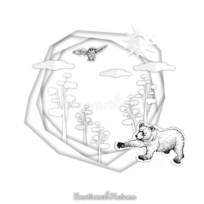 Autumn Grizzly Bear e coruja com arte do corte do papel ilustração royalty free