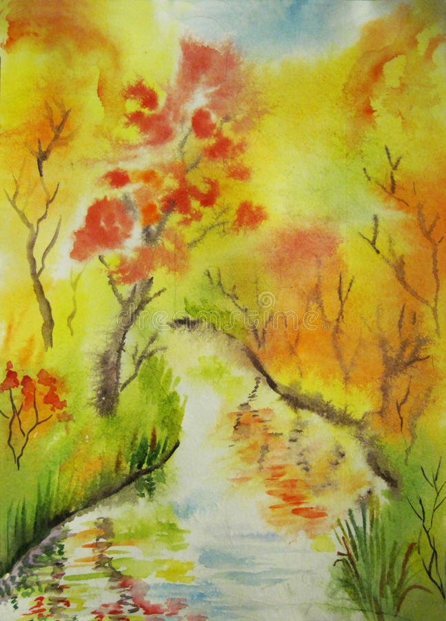 Autumn grove. Grove and a river in autumn royalty free illustration