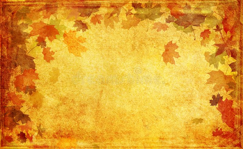 Autumn grunge background, old paper, grunge, retro, vintage, maple leaves, autumn, yellow, brown, orange, falling leaves, frame royalty free illustration