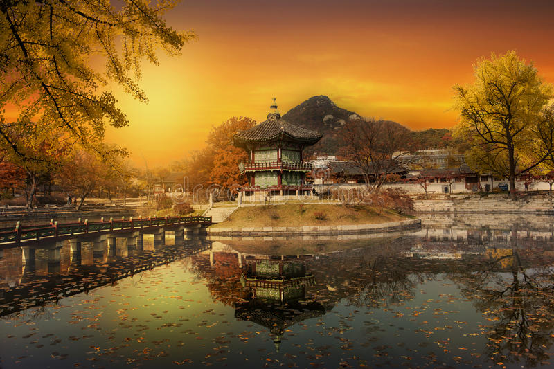 Autumn of Gyeongbokgung Palace in Seoul,South Korea. royalty free stock image