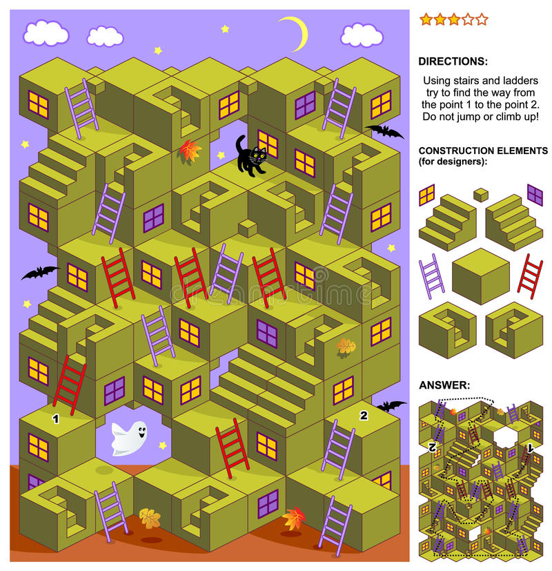 Autumn or Halloween 3d maze game with stairs and ladders vector illustration