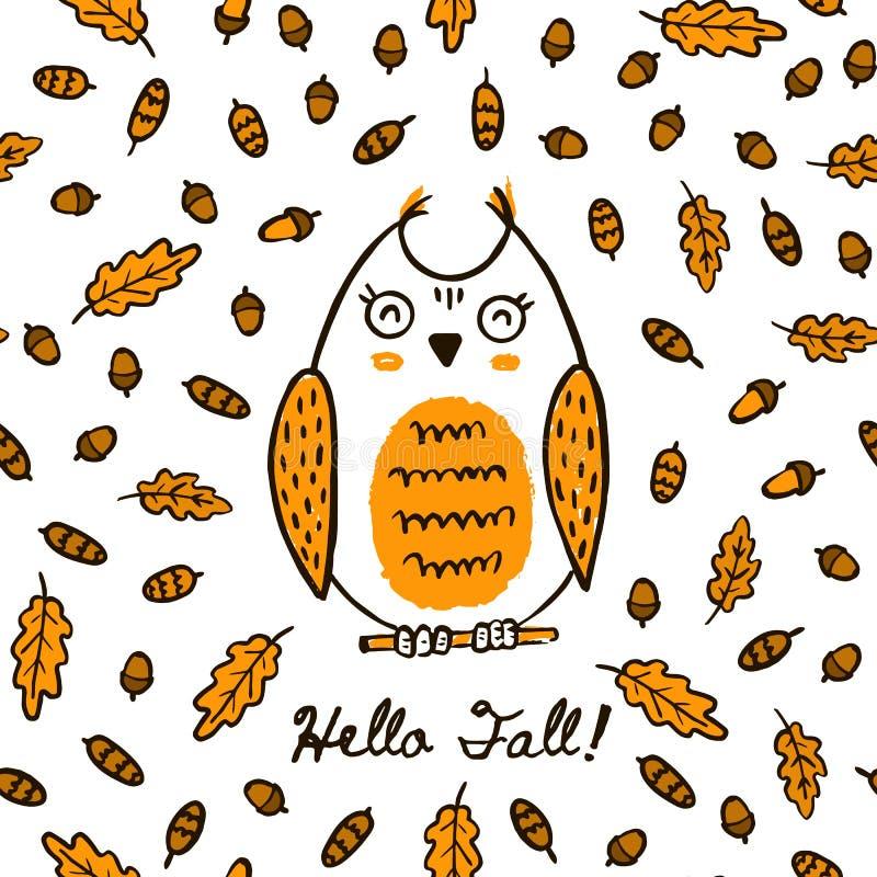 Autumn Hand Draw Owl On lindo el modelo inconsútil de las hojas y de los conos - animal de la bellota del fondo del vector en el  ilustración del vector