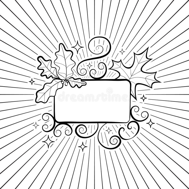 Autumn hand-drawn composition. Fall season frame with leaves. Of maple and oak on the background of the rays. Cool doodle black and white floral design element royalty free illustration