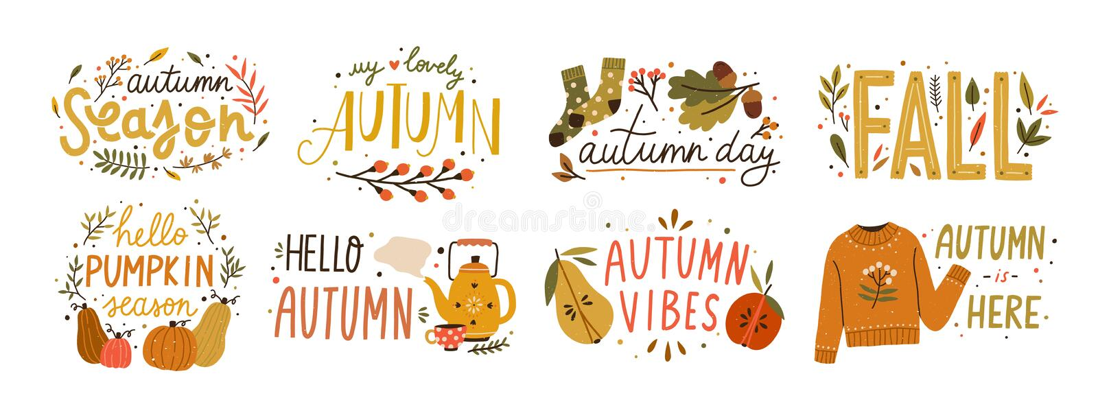 Autumn hand drawn lettering vector set. Fall season handwritten slogan stickers pack. Autumn phrases with cute and cozy vector illustration