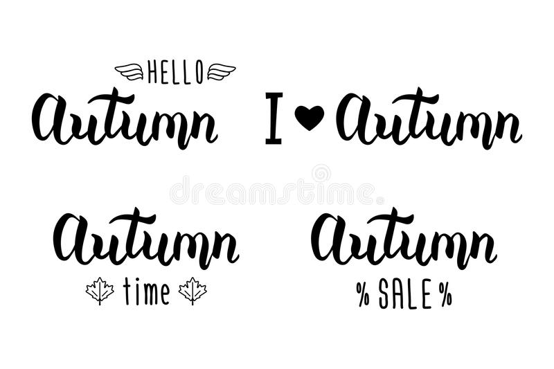 Autumn handlettering set autumn logos and emblems for invitation autumn logos and emblems for invitation greeting card t shirt prints and posters hand drawn autumn inspiration phrase vector illustration m4hsunfo