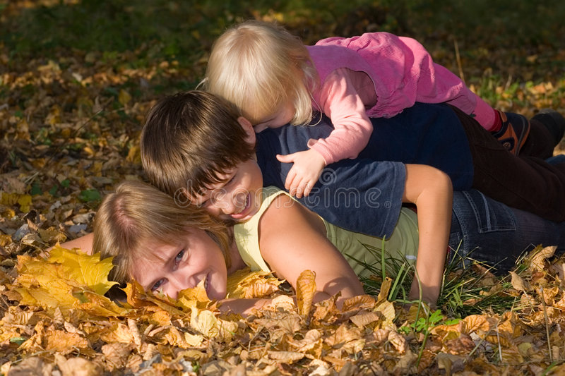 Download Autumn happiness stock photo. Image of mother, october - 3489818