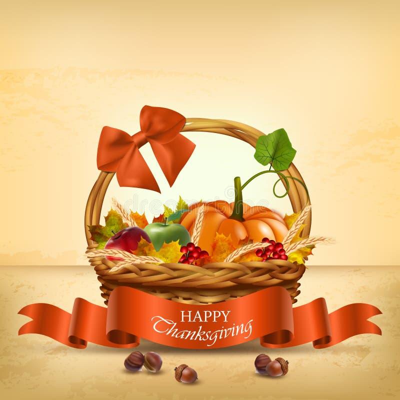 Autumn Happy Thanksgiving-Korb Vektor lizenzfreie abbildung