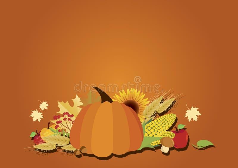 Autumn harvest background with pumpkin vector vector illustration