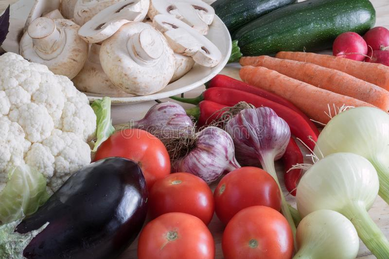 Autumn harvest, composition of vegetables, ingredients for cooking dishes royalty free stock image