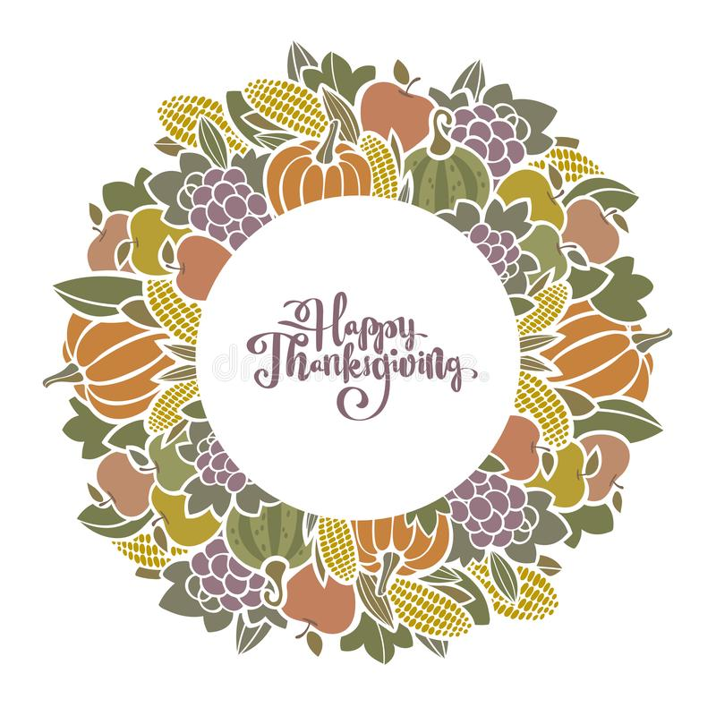 Autumn Thanksgiving harvest decorative frame with fruit and vegetables. vector illustration