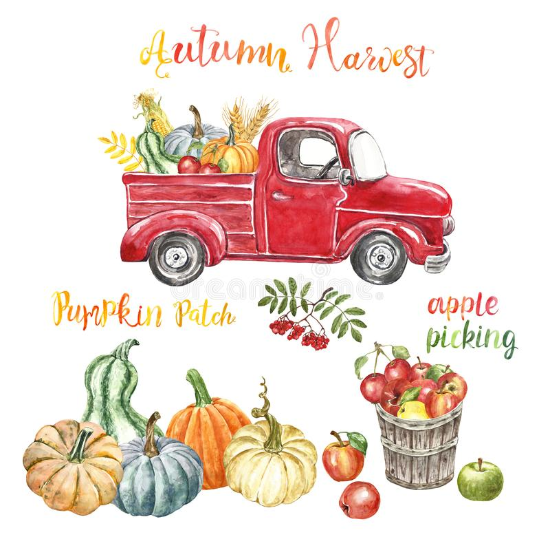Autumn harvest farm illustration. Red retro pick up track, pumpkins, apples, corn, isolated. Fall season background. Watercolor red harvest truck with autumn royalty free illustration