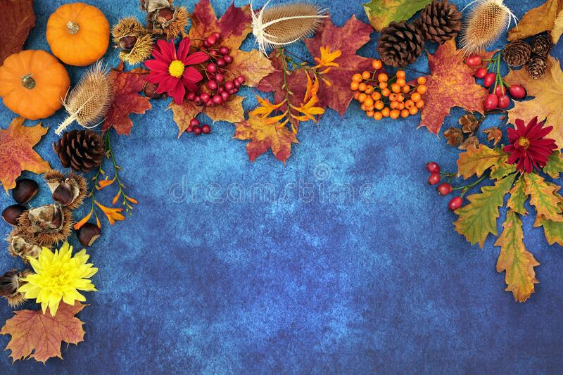 Autumn Harvest Festival Border with Russet Shaes royalty free stock images