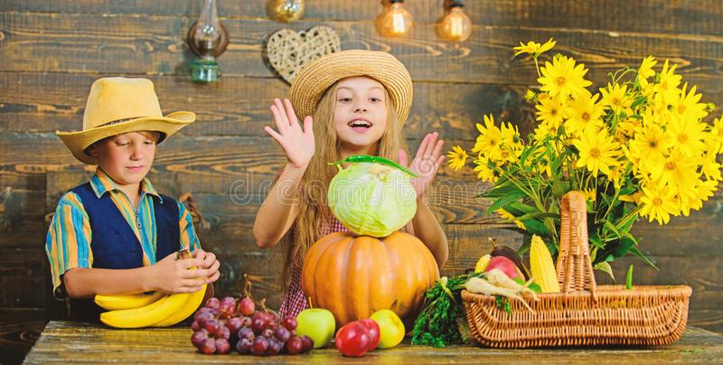 Autumn harvest festival. Celebrate harvest holiday. Children play vegetables wooden background. Kids girl boy wear hat. Celebrate harvest festival rustic style stock photos