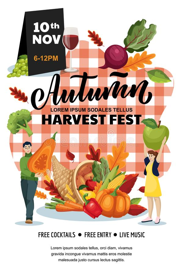 Autumn harvest festival poster, banner design layout. Fall fair or city picnic concept. Vector flat cartoon illustration stock illustration