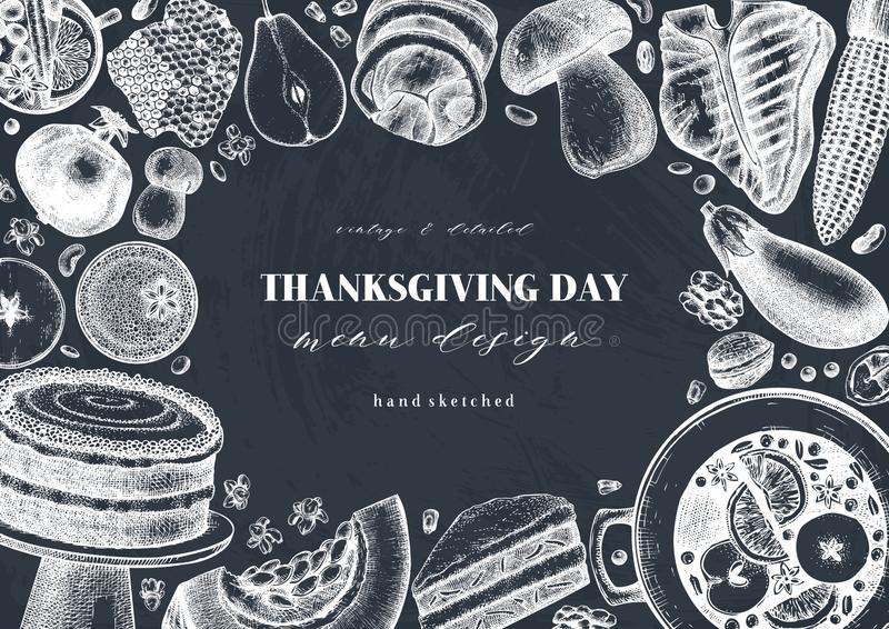 Autumn harvest festival vector design on chalkboard. Traditional thanksgiving day meal top view. Homemade food and drinks. Hand vector illustration