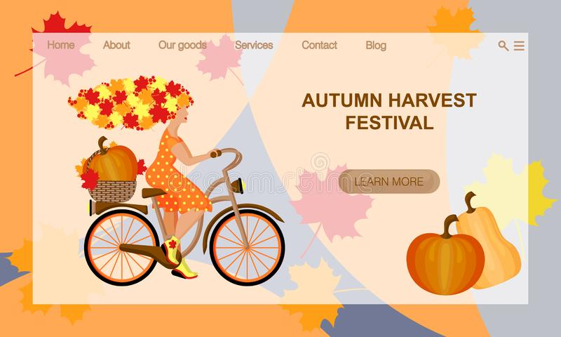 Autumn Harvest Festival. Young autumn woman with hair from leaves rides a Bicycle.  Vector website landing page design template royalty free illustration