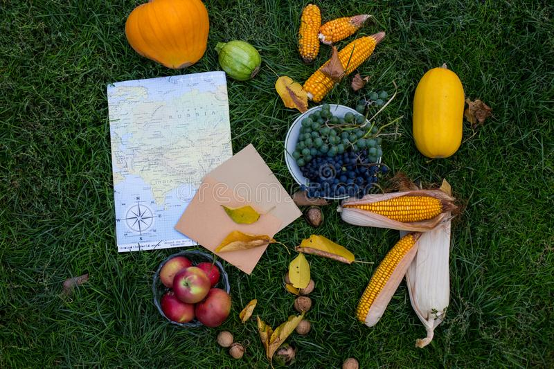 Autumn harvest on the green grass with map and latter. Autumn vegetable on the grass in composition. Map and vegetable. Hallo autu. Autumn harvest on the green royalty free stock photography