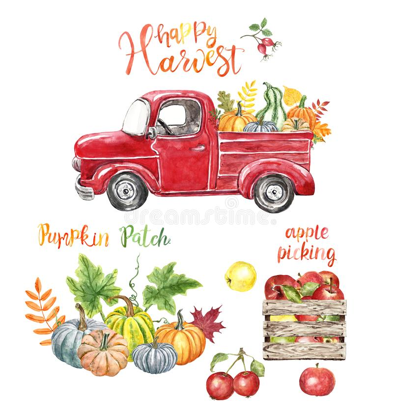 Free Autumn Harvest Illustration. Red Vintage Pick Up Truck, Pumpkins, Apples, Isolated On White Background. Fall Farm Stock Photos - 160934403