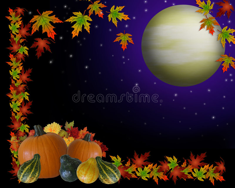 Autumn Harvest Moon Background. Illustration composition for Thanksgiving invitation, border or background with copy space