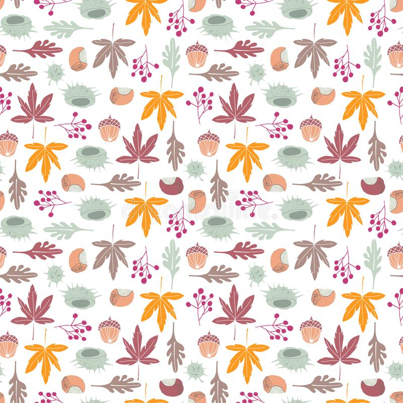 AUTUMN HARVEST TEXTURE CHEER. Seamless vector repeat pattern texture of hand-drawn autumn motifs in a bright color palette stock illustration