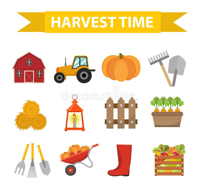 Autumn harvest time icons set flat cartoon style. Harvesting collection of elements design. Farm, thanksgiving day royalty free illustration
