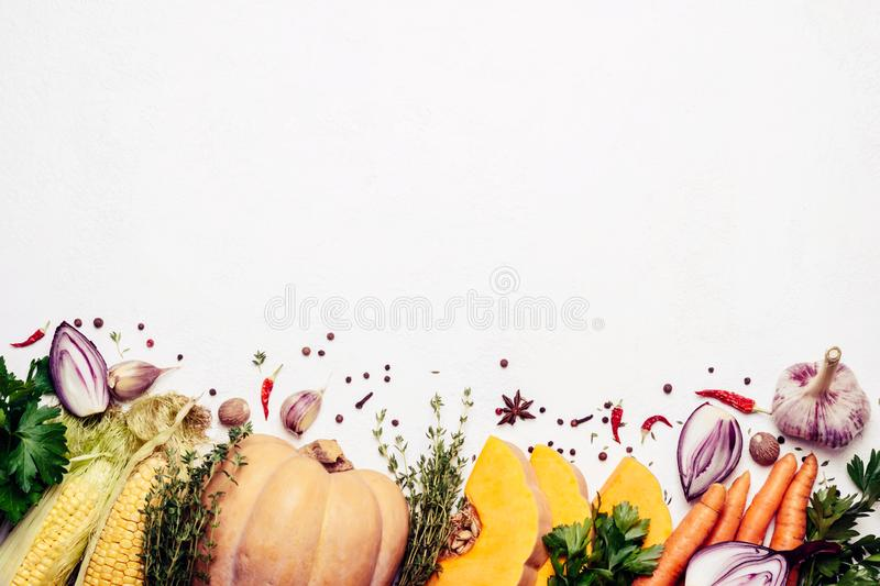 Autumn harvest vegetables on white background. Vegetarian food ingredients. Healthy farm products royalty free stock image