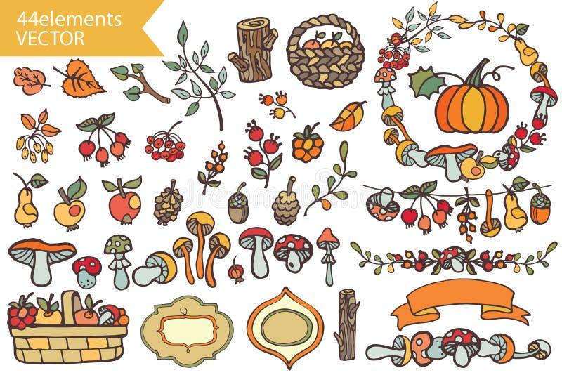Autumn HarvestDoodle bär, champinjoner, frukter, stock illustrationer