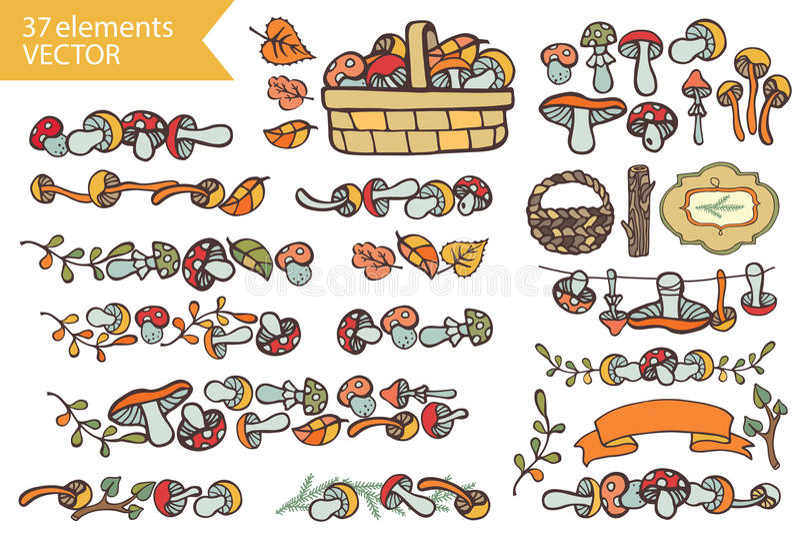 Autumn HarvestDoodle champinjoner, dekoruppsättning royaltyfri illustrationer