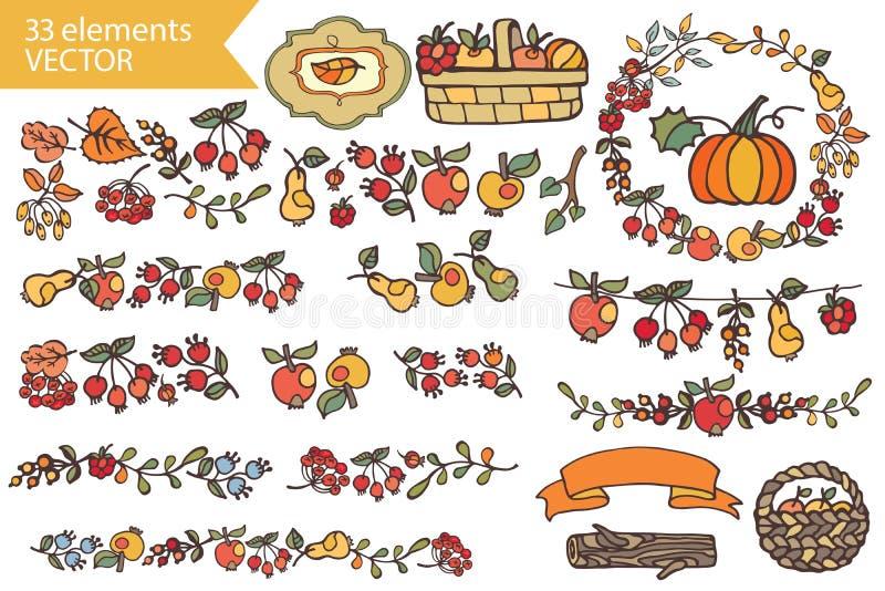 Autumn HarvestDoodle-Früchte, Beeren, Dekorsatz lizenzfreie abbildung