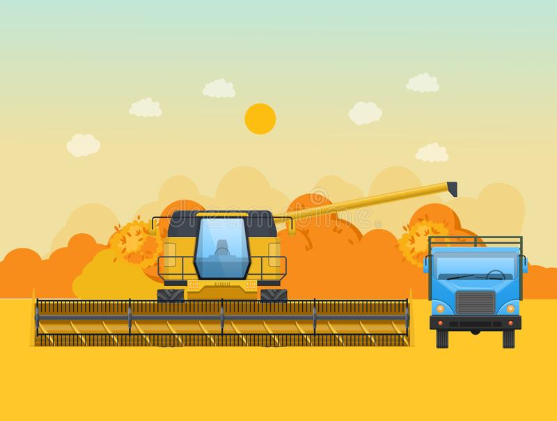 Autumn harvesting in the field. Agricultural machinery, machines for harvesting. Autumn harvesting in the field. Agricultural machinery, machines for harvesting vector illustration
