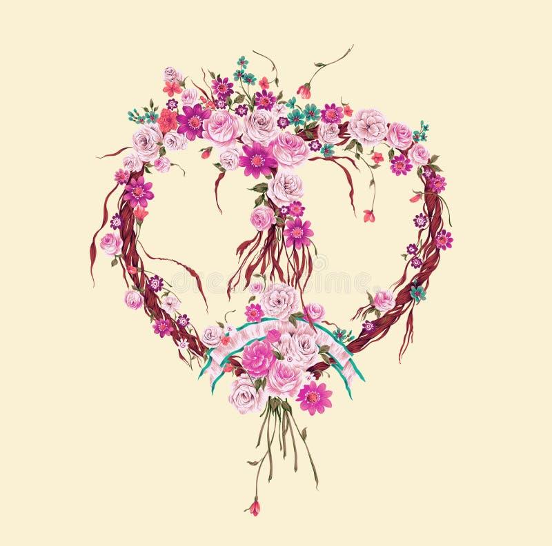 Autumn heart wreath stock image