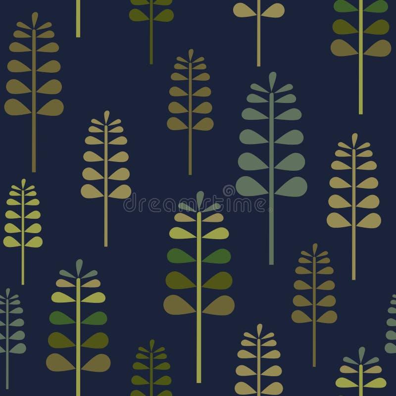 Autumn Herbalism em Navi Seamless Pattern, fundo Forest Floor Repeat Pattern do teste padrão da superfície da natureza da queda p ilustração royalty free
