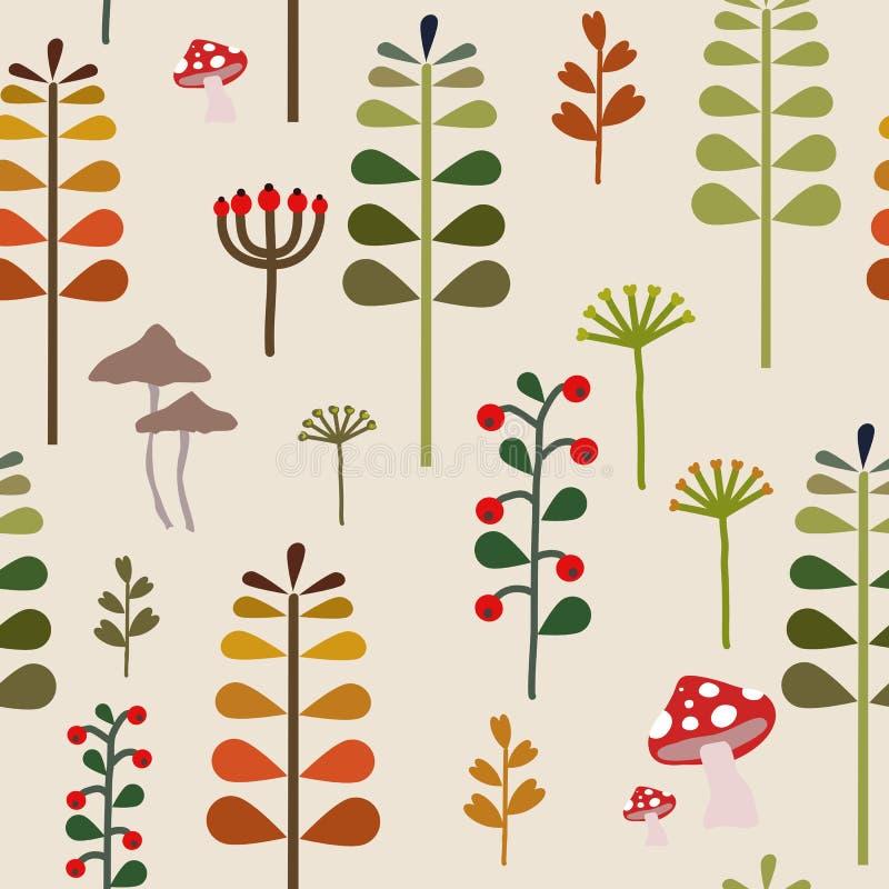 Autumn Herbalism Seamless Pattern nedgång Forest Floor Background Repeat Pattern för textildesign, tygtryck, mode eller backgr royaltyfri illustrationer