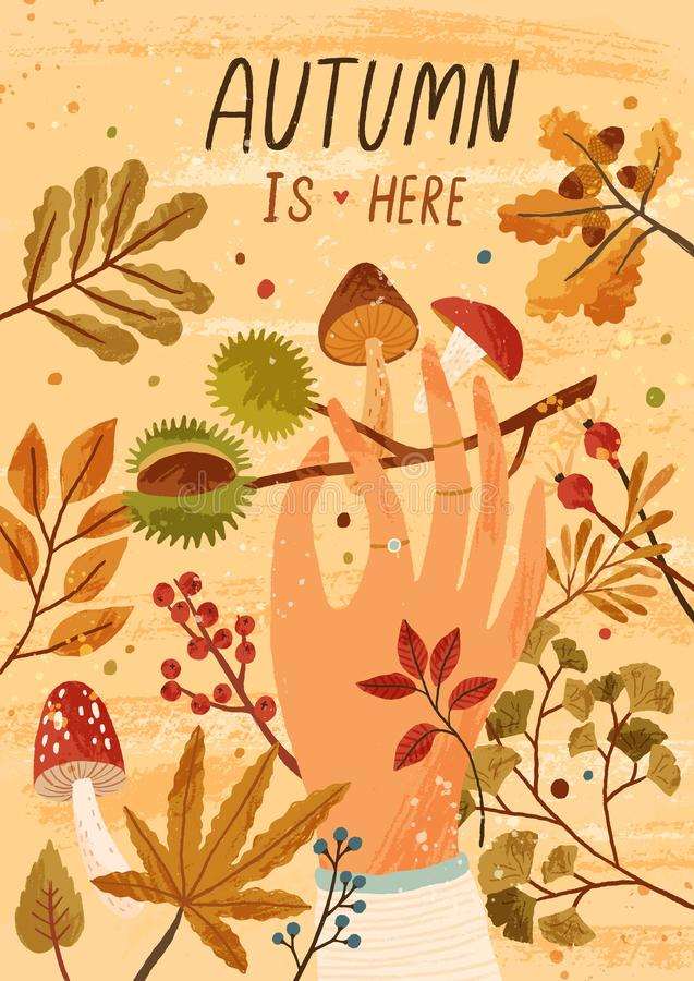 Autumn is here flat greeting card vector template. Fall season postcard, poster layout. Mushrooms picking hobby, active. Outdoor recreation concept. Hand royalty free illustration