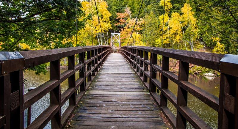 Autumn Hike In Michigan On el rastro del norte del país foto de archivo