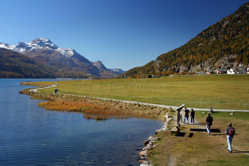 Autumn hiking in Alps royalty free stock photos