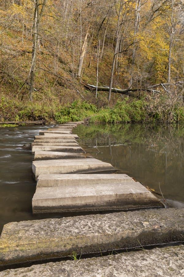 Autumn Hiking Bridge Across River photographie stock