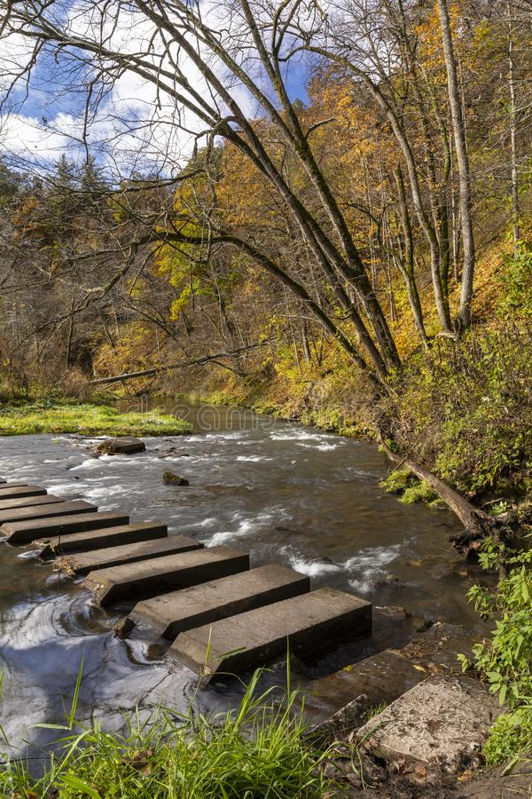 Autumn Hiking Bridge Across River photo stock