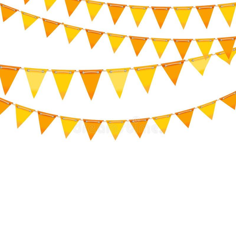 Autumn Holiday Background avec des drapeaux d'étamine orange et jaune illustration stock