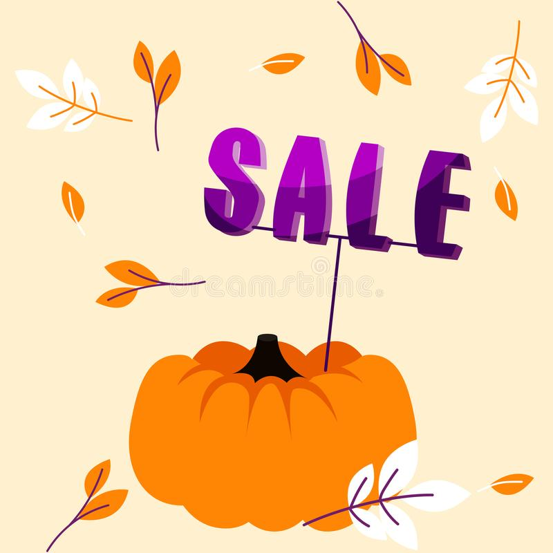 Autumn holiday sale banner with big pumpkin and fall leaves template. stock illustration