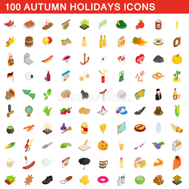 100 autumn holidays cons set, isometric 3d style royalty free illustration