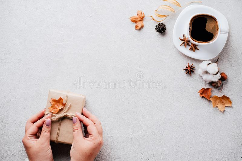 Autumn holidays family celebration, home weekend. Autumn holidays, family celebration, thanksgiving day, home weekend concept. Woman hands holding handmade royalty free stock images