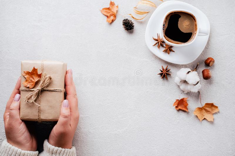 Autumn holidays family celebration, home weekend. Autumn holidays, family celebration, thanksgiving day, home weekend concept. Woman hands holding handmade stock photo