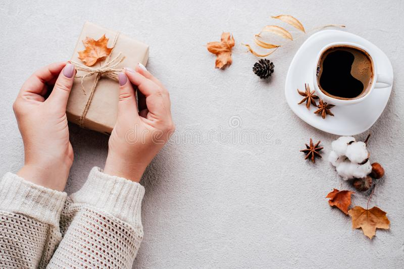 Autumn holidays family celebration, home weekend. Autumn holidays, family celebration, thanksgiving day, home weekend concept. Woman hands holding handmade stock image