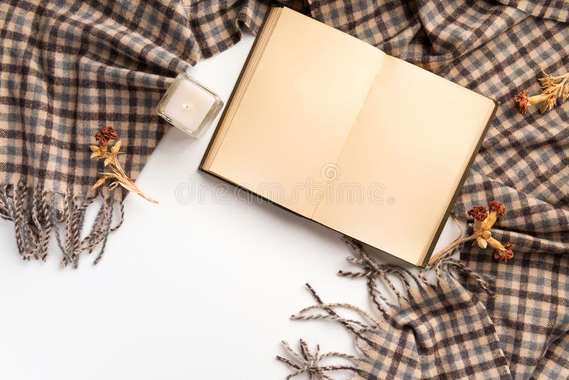 Autumn home cozy composition. Dry flowers and scarf, on  white background. Flat lay royalty free stock photo