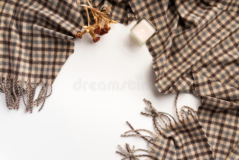 Autumn home cozy composition. Dry flowers and scarf, on white background. Flat lay royalty free stock photos