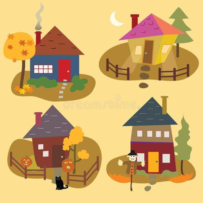 Autumn Home Icons stock illustratie