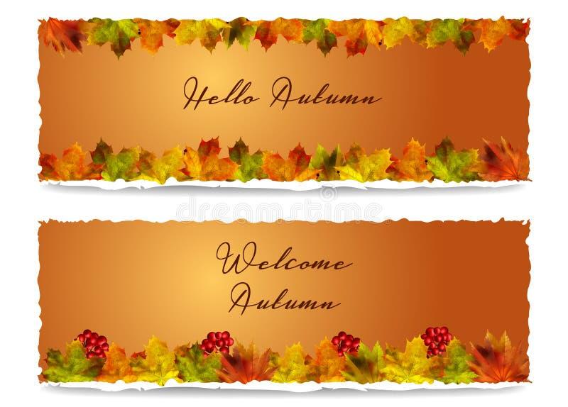 Autumn Horizontal Banners vektor stock illustrationer