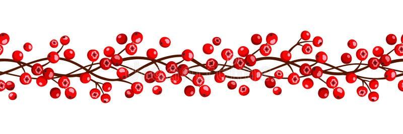 Autumn horizontal seamless garland with rowan berries. Vector illustration. royalty free illustration