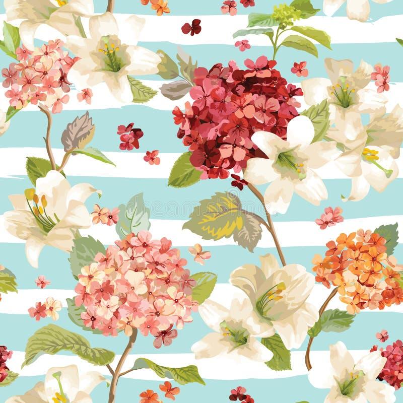 Autumn Hortensia e Lily Flowers Backgrounds Teste padrão chique gasto floral sem emenda ilustração do vetor
